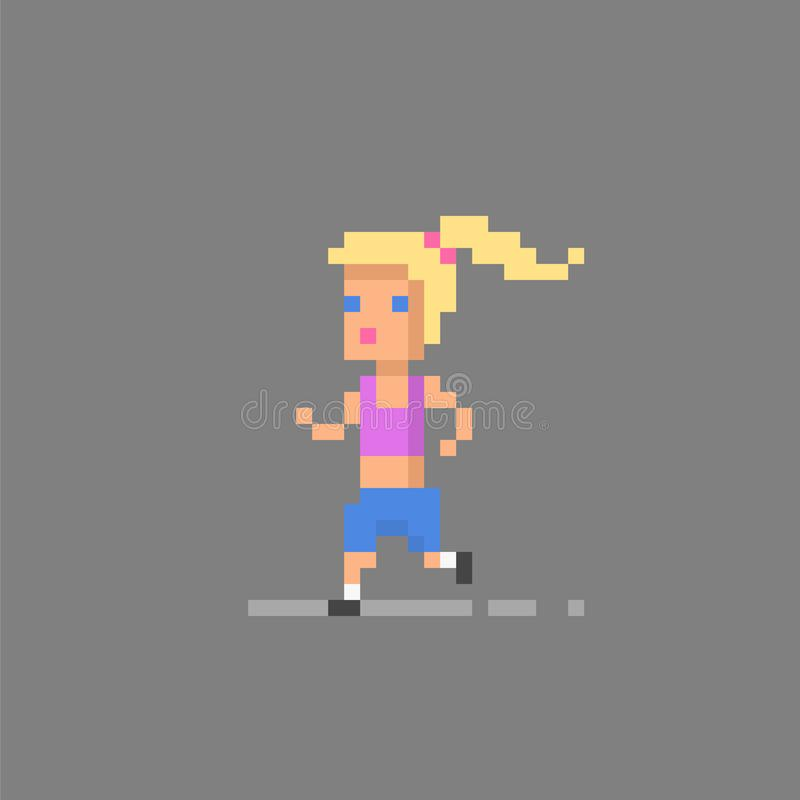 Pixel art running woman. Pixel art icon running woman. Vector illustration vector illustration