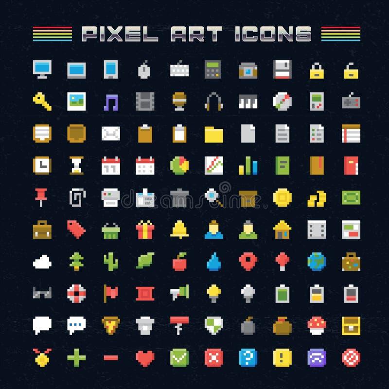 Pixel Art Icons do vetor ilustração stock