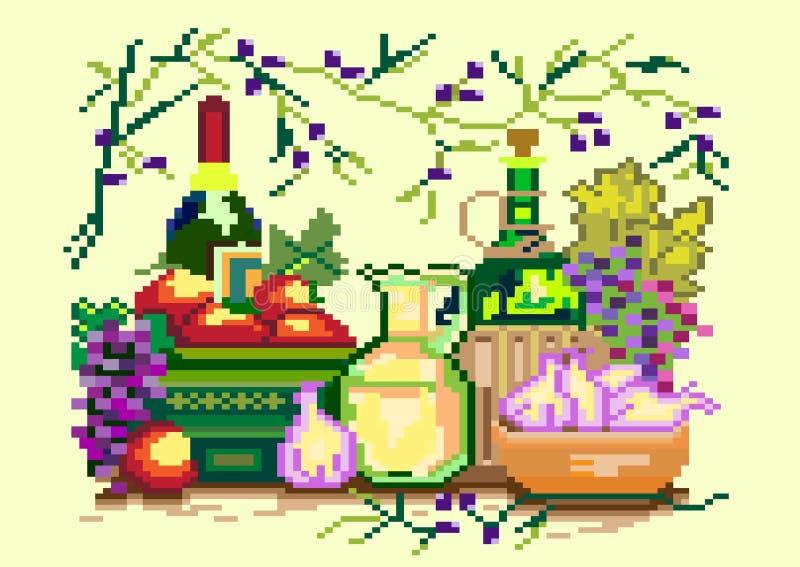 Pixel art illustration. Kitchen interior. Vector illustration vector illustration