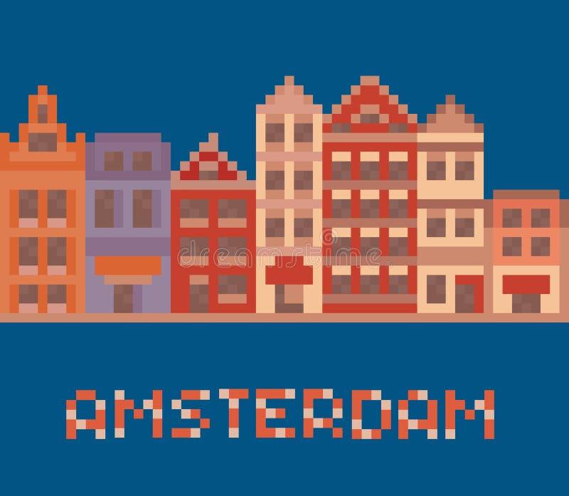 Pixel art illustration shows amsterdam holland. Facades of old houses street on dark blue background vector illustration