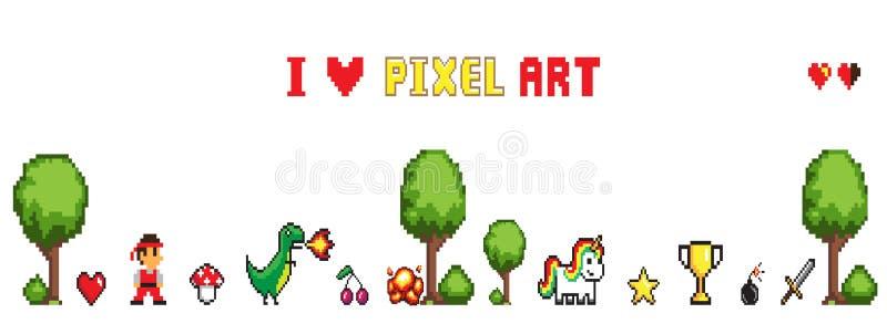 Pixel Art Isolated De Collection Sur Le Vecteur Blanc