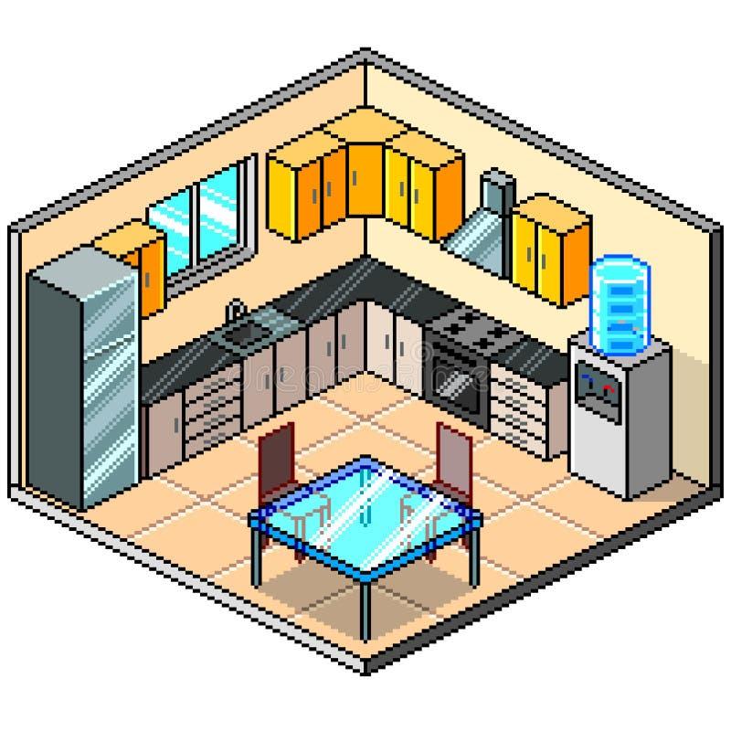 Pixel art isometric kitchen detailed vector illustration vector illustration