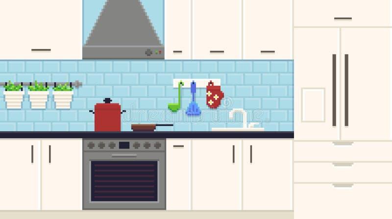 Pixel Art Kitchen illustration de vecteur