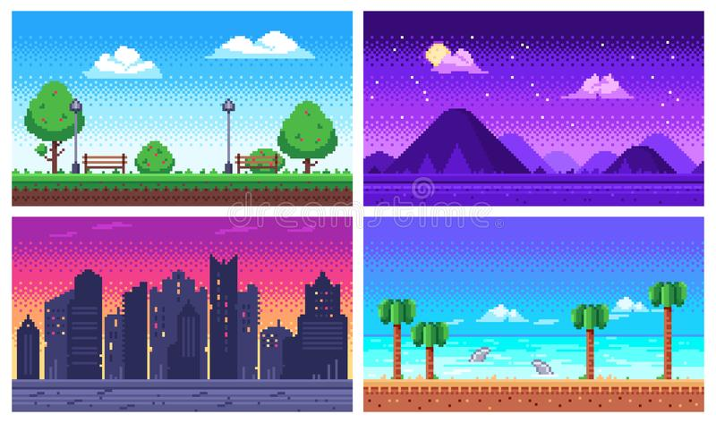 Pixel art landscape. Summer ocean beach, 8 bit city park, pixel cityscape and highlands landscapes arcade game vector stock illustration