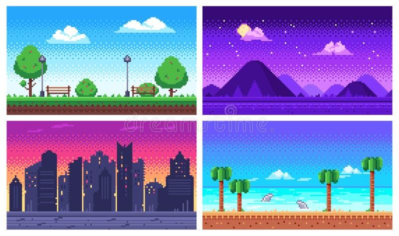 Pixel art landscape. Summer ocean beach, 8 bit city park, pixel cityscape and highlands landscapes arcade game vector. Pixel art landscape. Summer ocean beach, 8 stock illustration