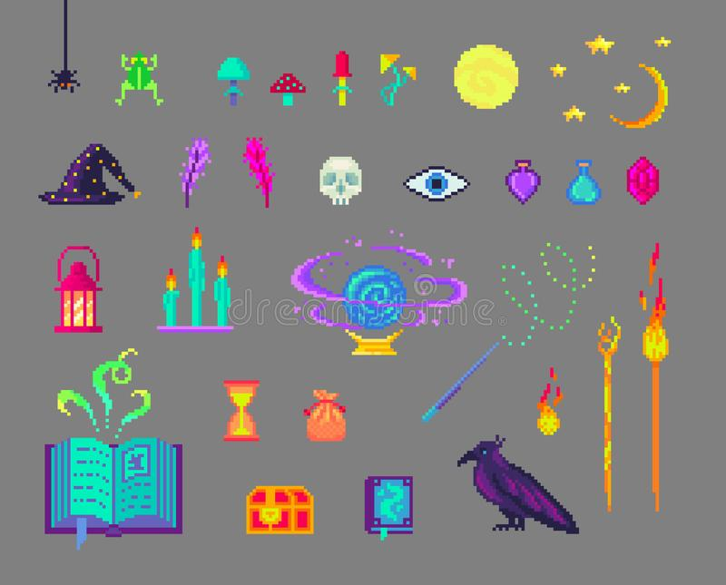 Pixel art magic set. Mystical book, mushrooms, skull, staff, crows and much more for design stock illustration