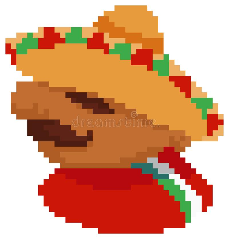 Pixel Art Mexican Guy illustration stock
