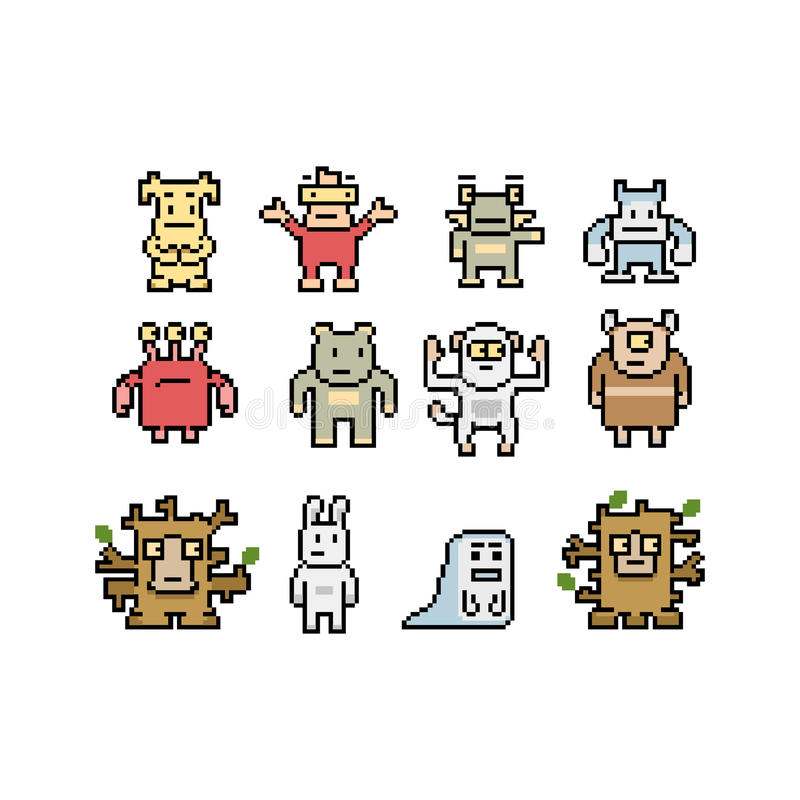 Pixel art monsters and animals collection. Isolated on white background, illustration stock illustration