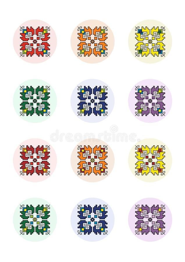 Pixel Art Motif Shevitsa Rainbow De Cercles De Feuille De