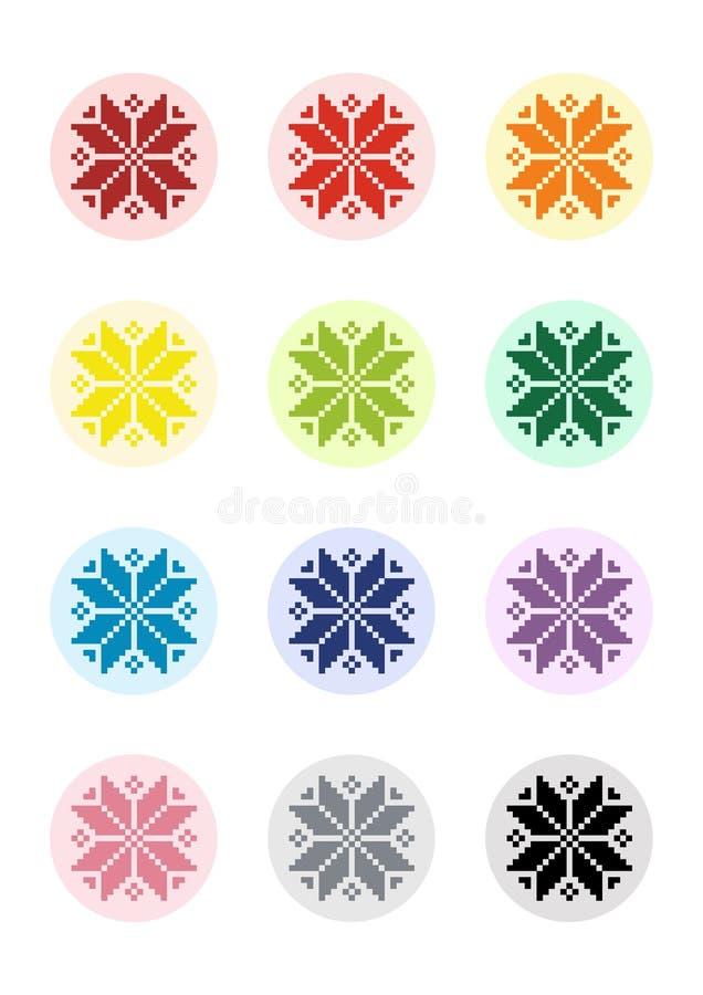 PIXEL Art Motif Shevitsa Rainbow för collagearkcirklar stock illustrationer