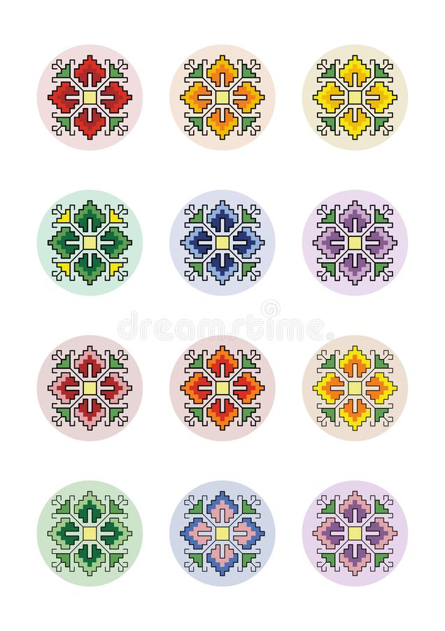 PIXEL Art Motif Shevitsa Rainbow för collagearkcirklar royaltyfri illustrationer
