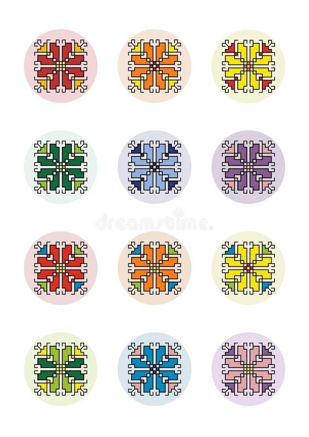 PIXEL Art Motif Shevitsa Rainbow för collagearkcirklar vektor illustrationer