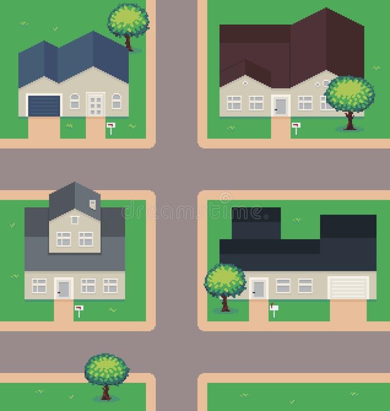Pixel Art Neighborhood illustration de vecteur