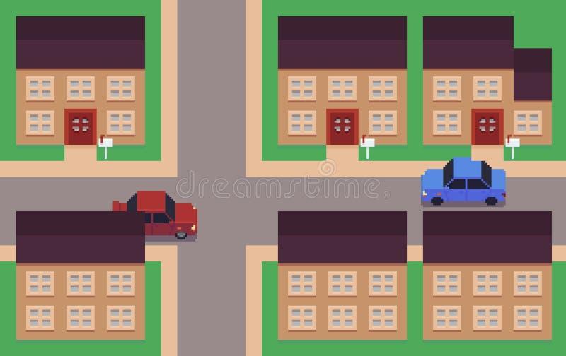 Pixel Art Neighborhood illustration stock