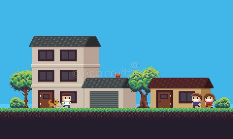Pixel Art Neighborhood lizenzfreie abbildung
