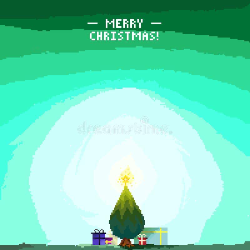Pixel Art Offer da árvore ilustração royalty free