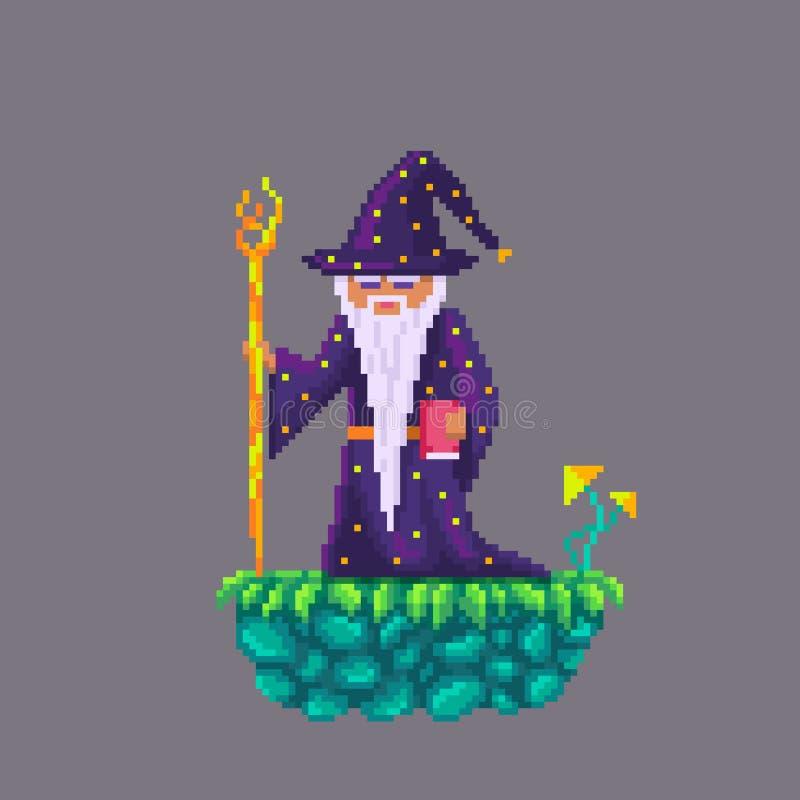 Pixel art old wizard. vector illustration