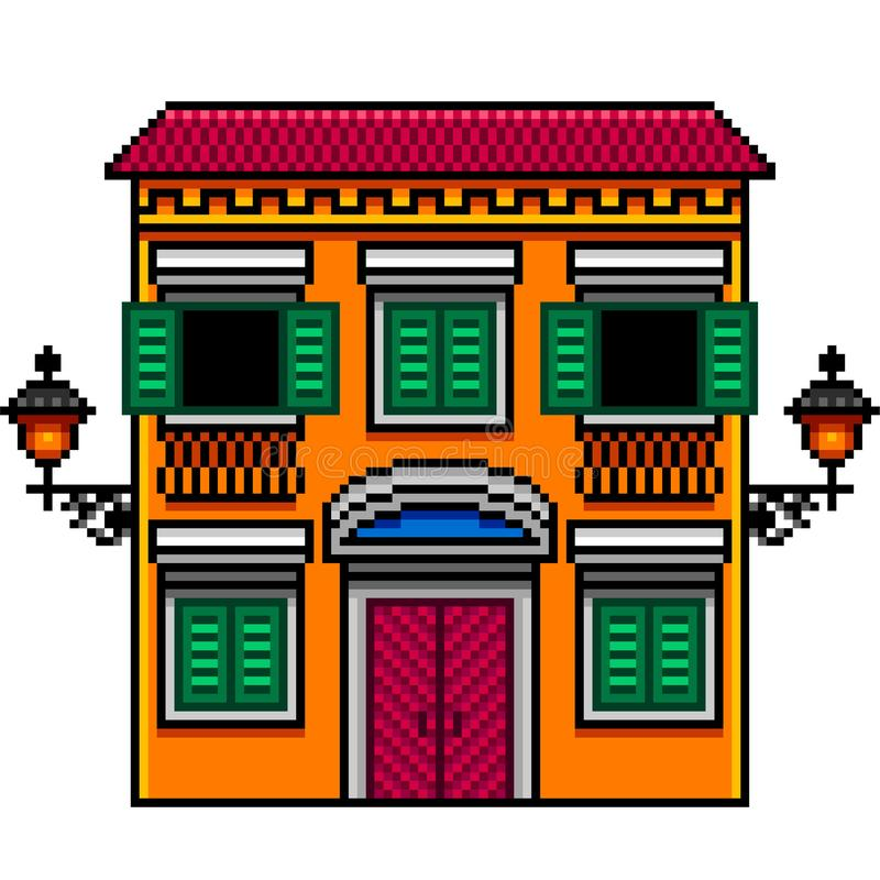 Pixel art orange italian house with street lights isolated vector. Pixel art orange italian house with street lights detailed isolated vector royalty free illustration