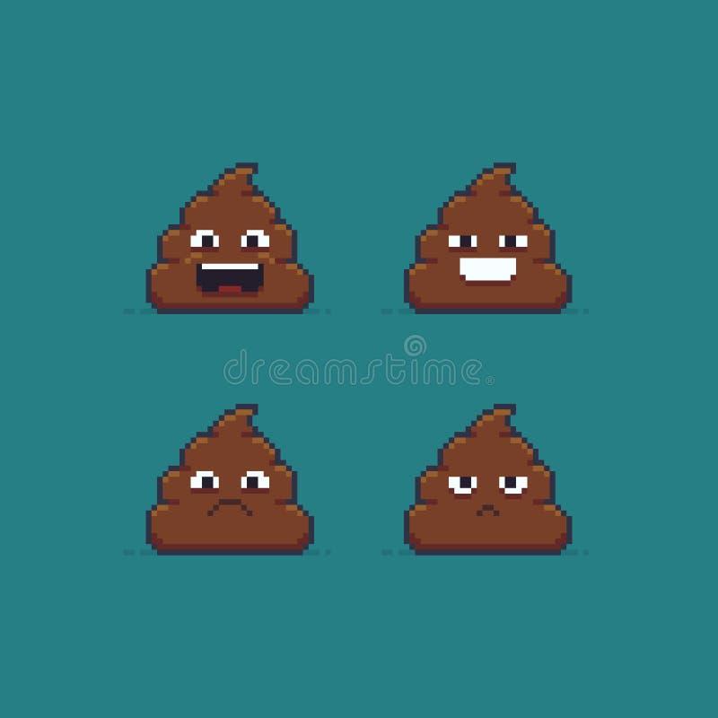 Pixel Art Poop illustration stock