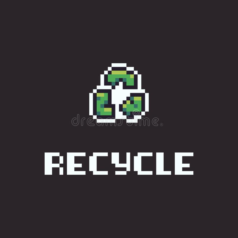Pixel Art Recycle stock illustratie