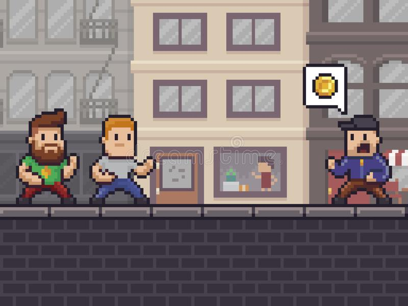 Pixel Art Robbery stock illustratie