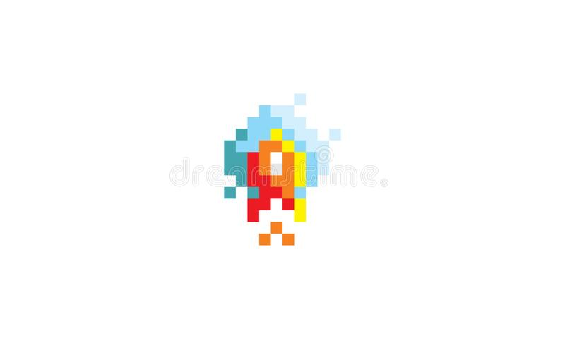 Pixel Art Rocket Cloud Sky Logo Icon Vector stock illustration