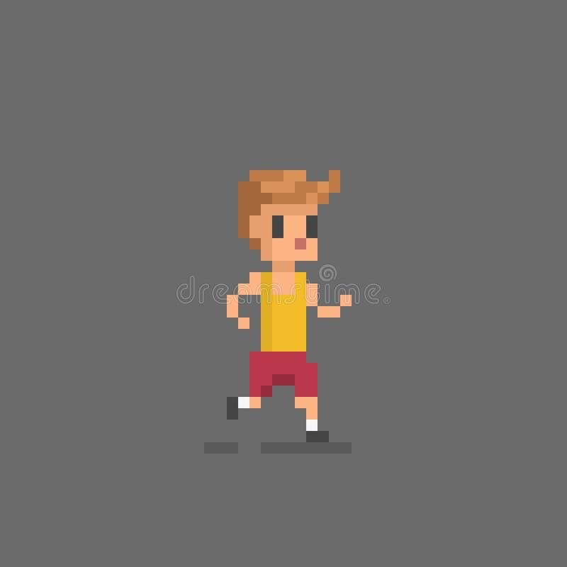Pixel art style icon running man. Isolated on gray vector illustration stock illustration
