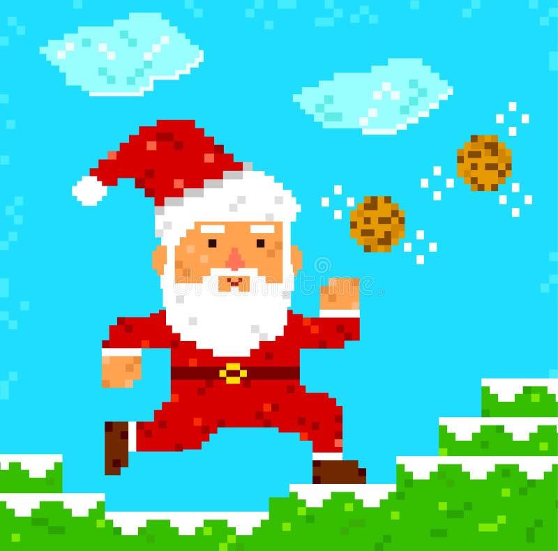 Pixel art Santa Clause. Retro 8 bit pixel Santa Clause catching cookies stock illustration