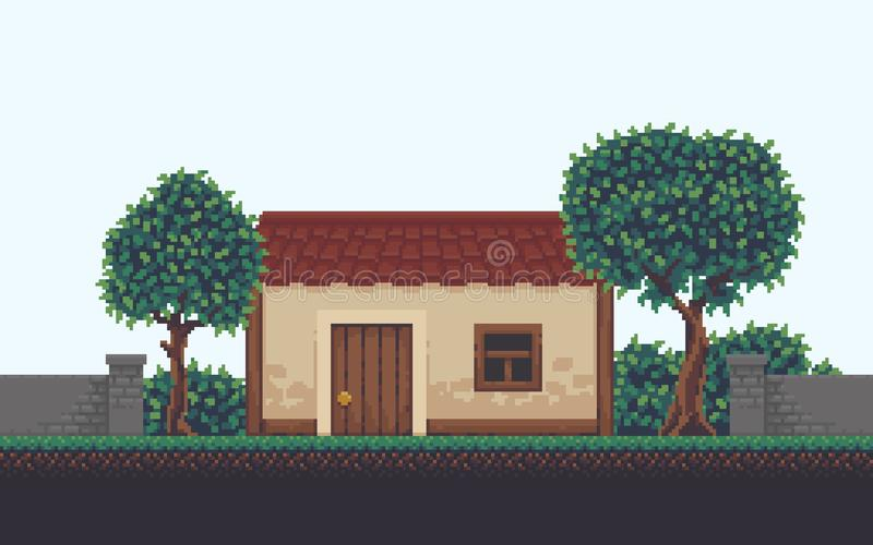 Pixel Art Scene illustration stock
