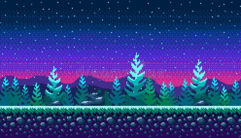 Pixel art seamless background. stock illustration