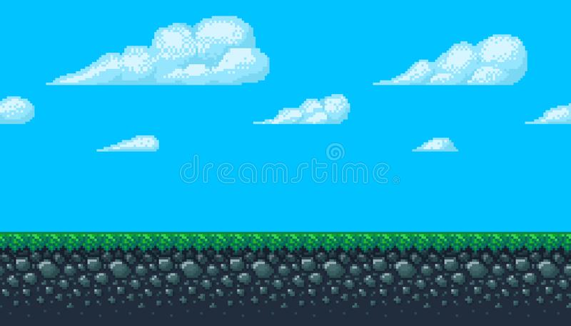 Pixel art seamless background with sky and ground. royalty free illustration