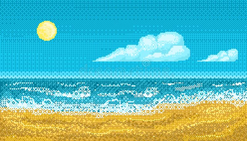 Pixel art seascape. vector illustration