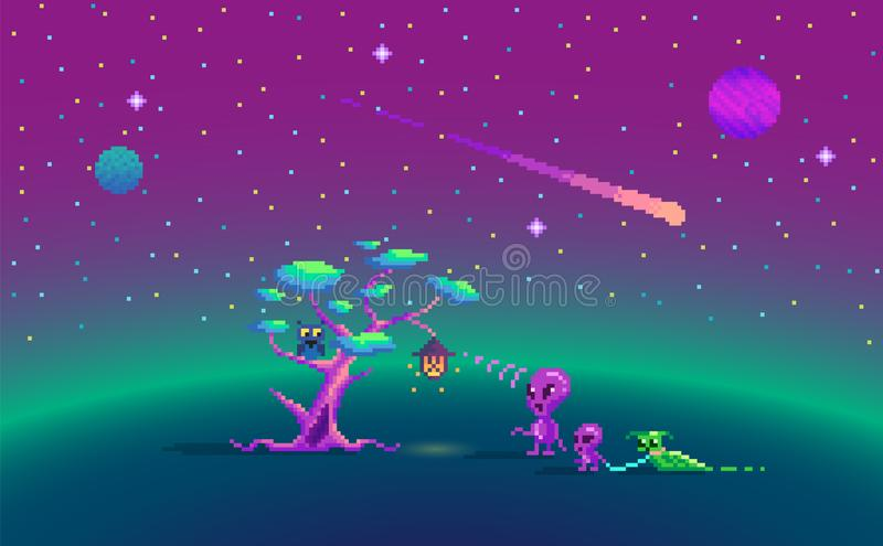 Pixel art story about aliens. royalty free illustration