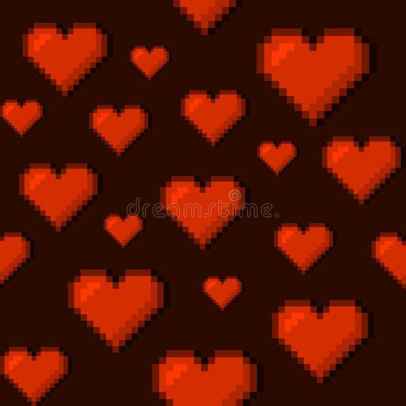 Pixel Art Style Hearts Seamless Background Vecteur illustration stock