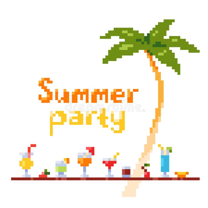 Pixel art style invitation party postcard with ice and alcoholic summer drinks and beach cocktails. Palm tree. Fruits. stock photography