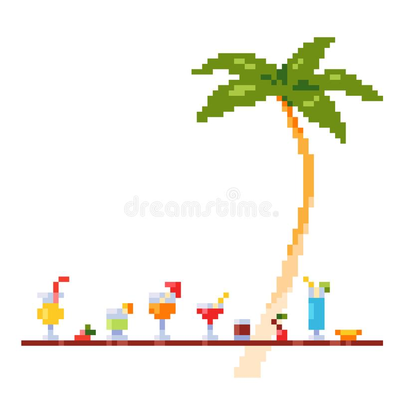 Pixel art style invitation party template with ice and alcoholic summer drinks and beach cocktails. Palm tree. Fruits. stock photos