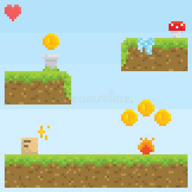 Pixel art style retro game level vector asset. Set royalty free illustration