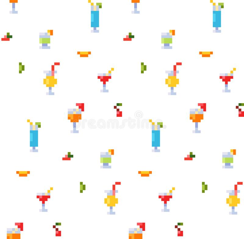 Pixel art style seamless pattern of ice and alcoholic summer drinks and beach cocktails. Fruits and refreshments. Background. royalty free stock photos
