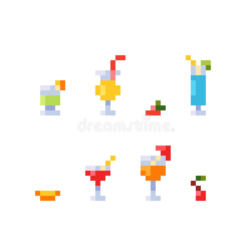 Pixel art style set of ice and alcoholic summer drinks and beach cocktails. Fruits and refreshments. royalty free stock images