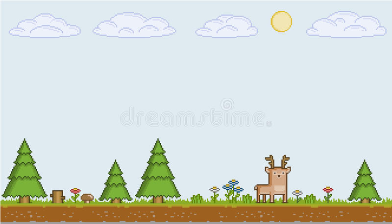 Pixel art sunny day. Vector pixel art sunny day for games and design vector illustration