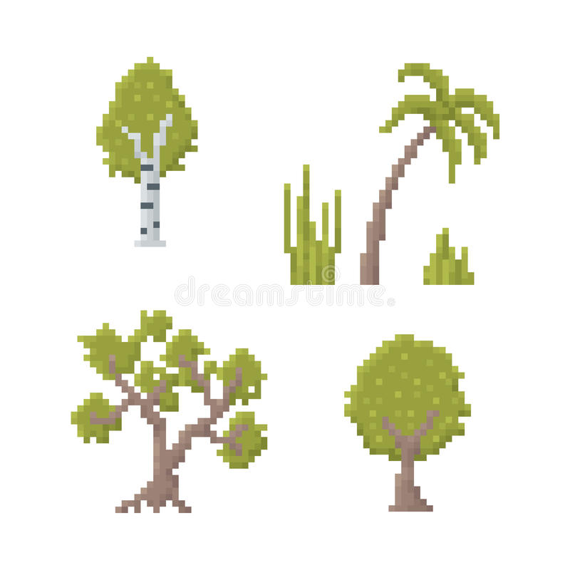 PIXEL Art Trees stock illustrationer