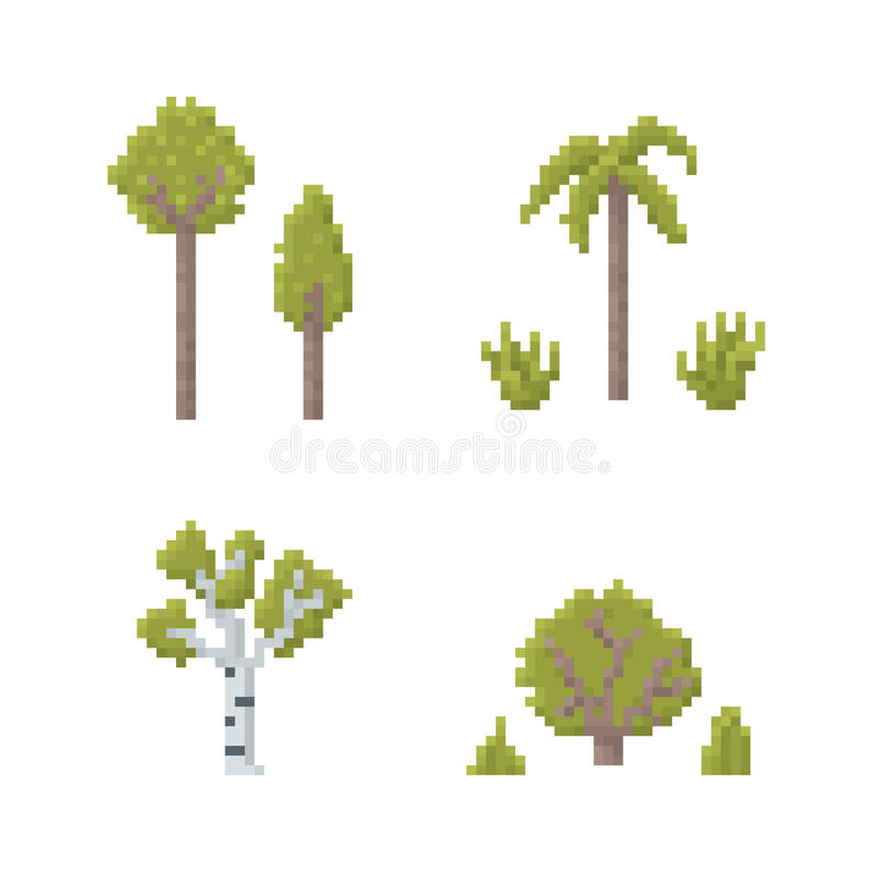 PIXEL Art Trees royaltyfri illustrationer