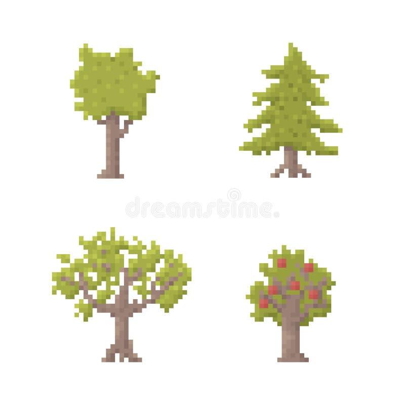 Pixel Art Trees stock de ilustración