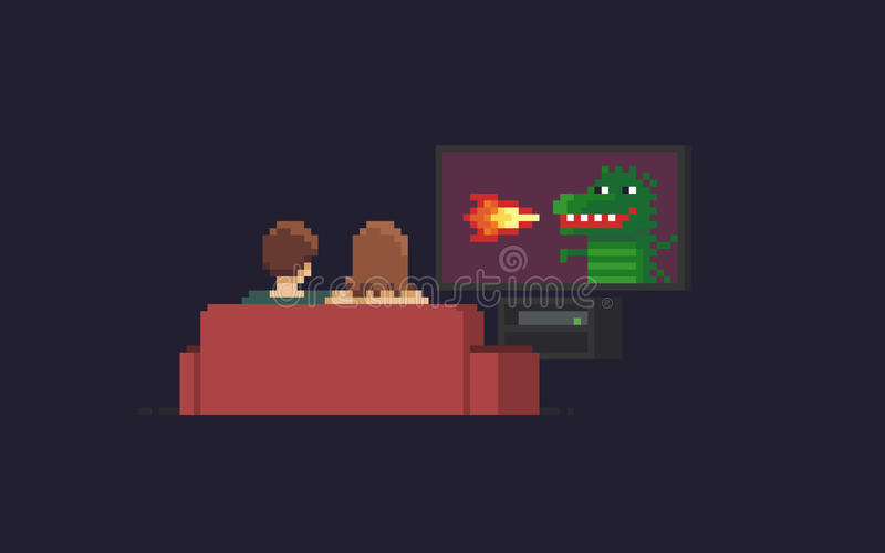 Pixel Art TV watchers stock illustration