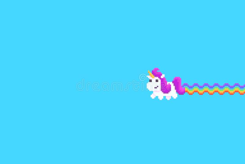 Pixel Art Unicorn illustration stock