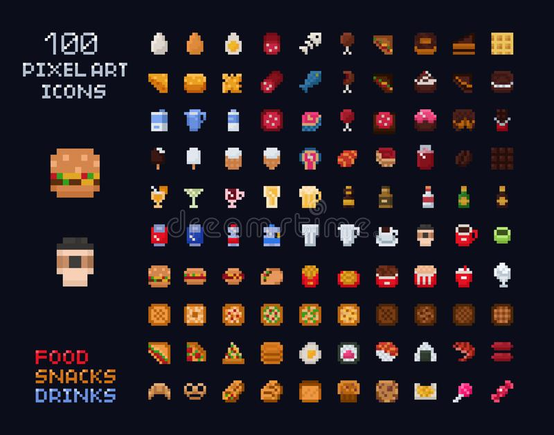 Pixel art vector game design icon video game interface set. Food items - fastfood, drinks, sweets, snacks, alcohol royalty free illustration