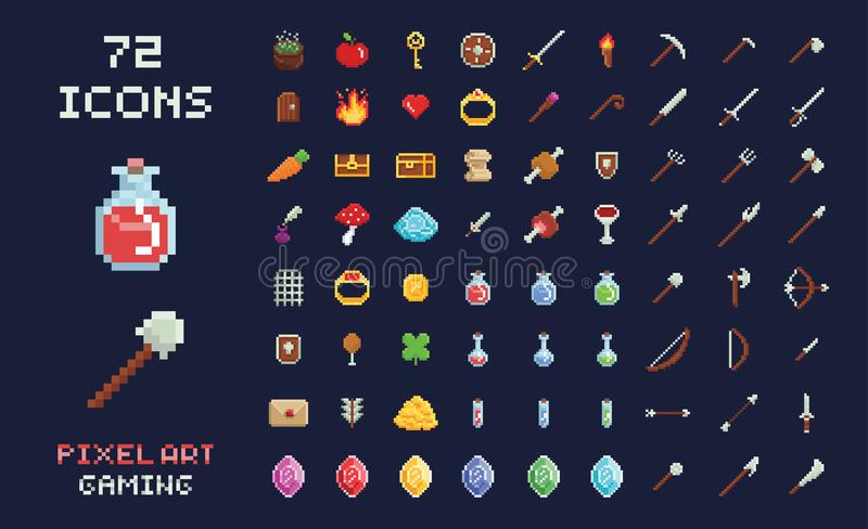 Pixel art vector game design icon video game interface set. Weapons, food, items, potion, magic. royalty free illustration