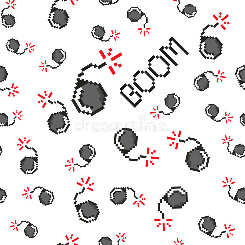 Pixel art vector objects to create Fashion seamless pattern. Background with bombs, boom for boys. trendy 80s-90s. Pixel art style stock illustration