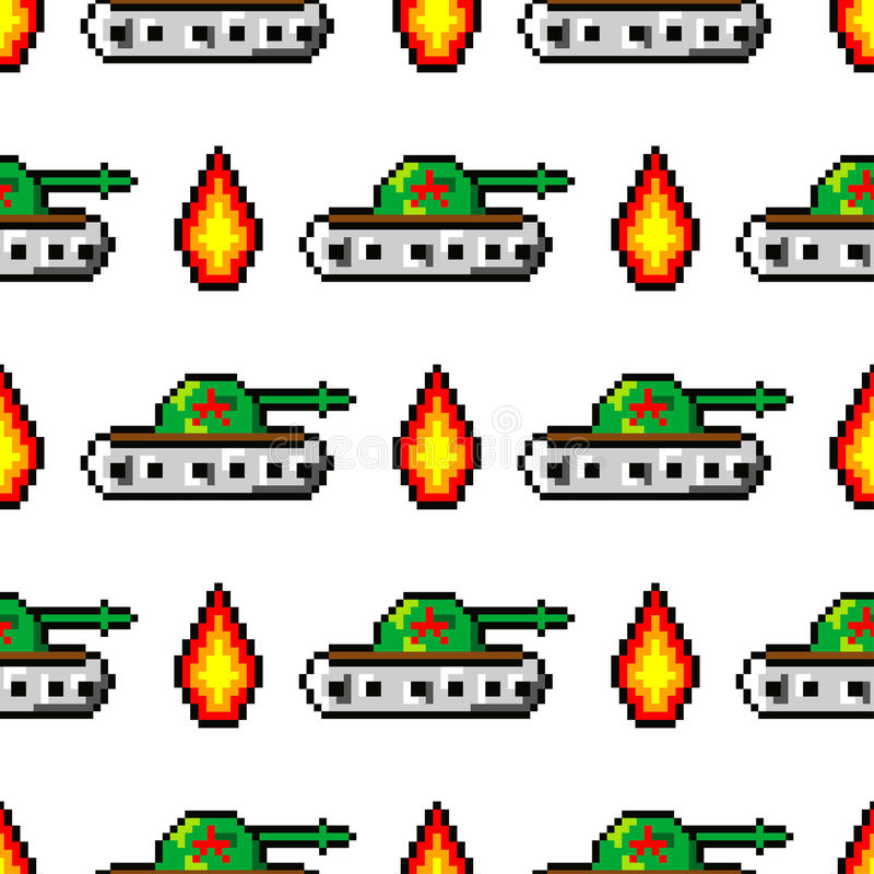 Pixel art vector objects to create Fashion seamless pattern. Background with tanks, boom, for boys. trendy 80s-90s. Pixel art style vector illustration