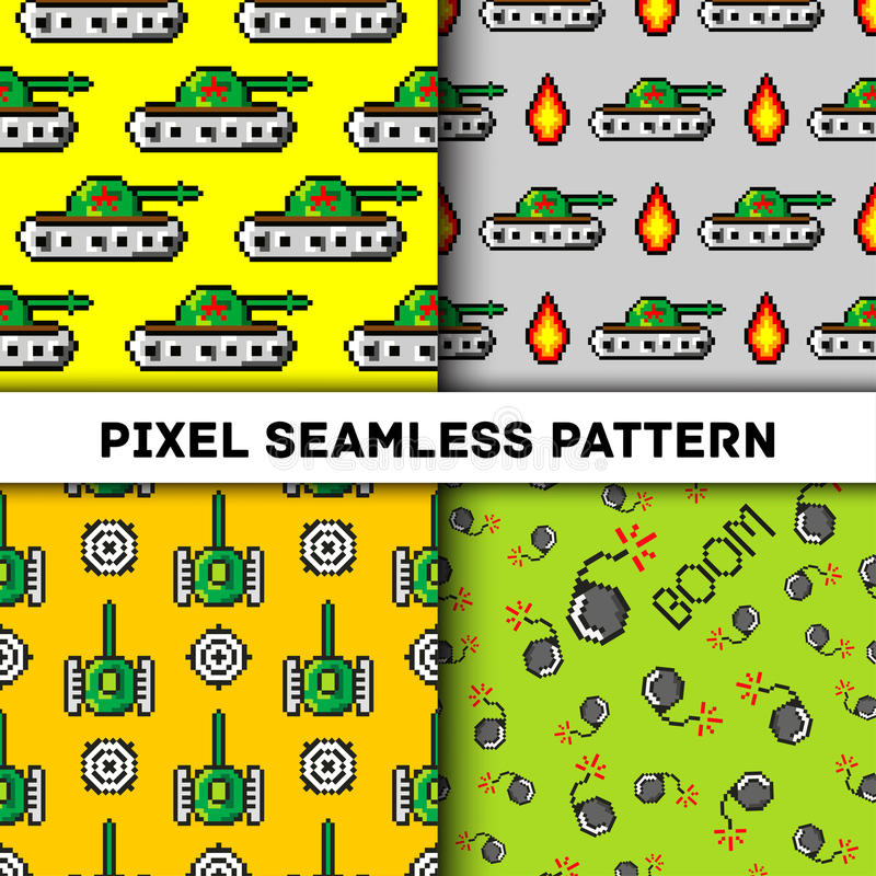 Pixel art vector objects to Fashion seamless pattern. Background with tanks, boom, for boys. trendy 80s-90s style. Pixel art vector objects to Fashion seamless stock illustration